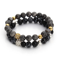 alabaster stone - New Natural Picasso Alabaster Black Agate Stone Bead Bracelet with Crystal Disco Ball Elastic Rope Chain Mala Bracelets F3247
