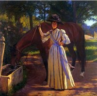 art deco horse - Girl And Horse Tarbell Edmund Charles Pure Handpainted Portrait Animal Art Oil Painting On Quality Canvas customized size accepted deco