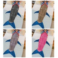 animal sleeping bags for kids - 2017 Mermaid Tail Blanket Shark Towel Envelopes for T Kids Soft Handmade Animal Sleeping Bag Pajamas Overalls Children Quilt Velvet