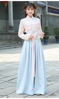 Wholesale Traditional hanfu restoring ancient ways of female costume embroidery collar coat two piece Ru skirt Qiu dong ethnic dress suit daily improv
