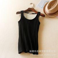 Wholesale Winter Cotton Tank Tops short T shirt round neck vintage velvet Vertical stripe camis for womens