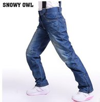 Wholesale New Skiing pants female winter outdoor denim skiing windproof waterproof thickening Warm Snowboarding Pants Europe and the United States fa