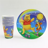 Wholesale new winnie and pooh cartoon disposable kid biy birthday party set decorations paper plates paper cups glass party supplies