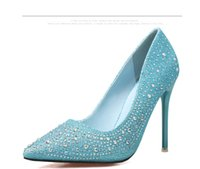 Wholesale Europe and the United States fashion fine fine with high heels shallow mouth pointed diamond shoes