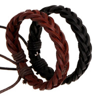 Wholesale Cheap Handmade Men s Genuine Leather Braided Bracelets Vintage Cow Leather Braid Bracelet for Women Charm Jewelry High Quality Black Brown