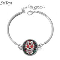 Wholesale Fashion Sugar Skull Skeleton Glass Dome Lace Charm Bracelets Skull Photo New Design Silver Bangle High Quality
