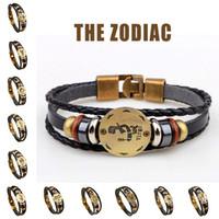 Bracelets faits main de signe de zodiaque pour les femmes Hommes Bracelet en cuir véritable Bracelet en bois + Bijoux de charme Gallstone noir 12 pcs / ensemble Vente en gros