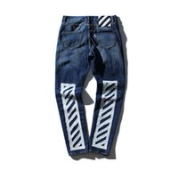 Wholesale new fashion off white men s wear washed frayed striped printed men s jeans jogger pants kanye west off white swag