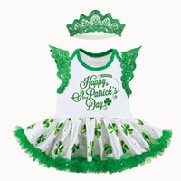 Wholesale Baby Girls Lace Rompers Newbown TUTU Dresses Headband Sets Y Infant Tulle Jumpsuit St Patrick Day Party Clothing for Children K001