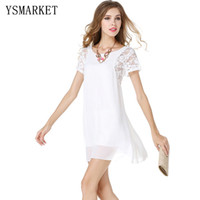 Wear to Work Mini Dresses Spring White Lace Patchwork Elegant Women Office Dress Short Sleeve Chiffon Mini Dress Round Neck Secretary Party Ladies Dress e1132