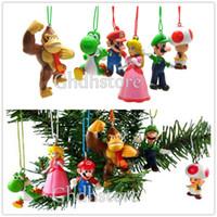 Wholesale EMS Christmas Tree Decoration Super Mario Bros Luigi PEACH DK Action Figures Animal Doll Christmas Gifts For Kids