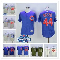Wholesale Men Chicago Cubs Anthony Rizzo baseball Jerseys WORLD SERIES CHAMPIONS Good Quality Nice Color Blue White Cream Grey