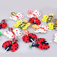 bee birthday cards - Set Cute Insect Bees Ladybug Butterfly Lollipop Decoration Card Birthday Party Wedding Decor Candy Stick Gifts For Kids