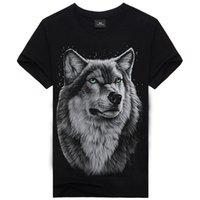 animal t shirts for men - 2017 New Punk t Shirts For Men Wolf Skull Animals Printing Mens t Shirts Creative Streetwear Cotton Shirt Tops