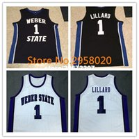 Wholesale Cheap custom DAMIAN LILLARD Weber State Black White College Basketball Jerseys Embroidery Stitched Custom Any Name and Number