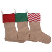 Wholesale High Quality New canvas Christmas Stocking Gift bags Xmas checvron stocking decorative socks bags Factory Sale