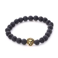 Mexican beaded tiger - Natural Gemstone Lava Tiger Eye Beaded Silver Gold Lion Head Bangles Elastic Streched Men Women Bracelets Large Stock