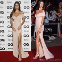 bella jacket - Plus Size Off the Shoulder Prom Dresses Long Elegant Bella Hadid Elastic Satin Celebrity Party Gowns Hot Sale Split Side Evening Dress