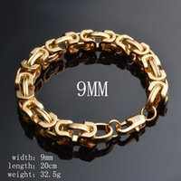 Wholesale New Fashion Men Bracelet Link chain K Yellow Gold MM Cool Bracelet Chain for Men Long lasting Color Anti Allergy