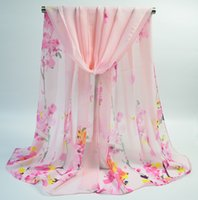 Wholesale plum blossom Chiffon scarf printed beach towel cm cm with a long and thin gauze towel for spring and autumn style trade scarf