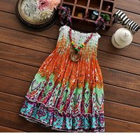 Wholesale MJX Kids Dress Colour Flower Bohemian Children Dresses Fashion Casual Beach Girls Long Dresses Age Random Colour Send TR170
