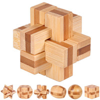 Wholesale New bamboo D Puzzle Ming lock Assembling toys kinds of styles Ball Cube challenge IQ Brain Games creative gift Toys For Kids
