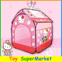 best animes - Hello Kitty Kids Tent Cartoon Play House Game Tent Outdoor Sport Children Ocean Ball Pool Best Infant Toy Lawn Tent Girl Gift