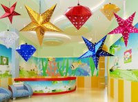 Wholesale Yellow Red Blue star Christmas Tree Ornament Mall Market Star Hanging Xmas Party Decoration Dinner Party Decor christmas gifts