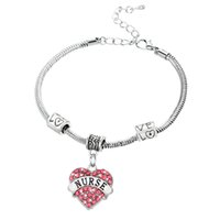Wholesale Charm Nurse Xmax Gifts Love Heart Clear Pink Blue Rhinestone Crystal Pendant Silver Bangles Bracelets Party Women Men Jewelry