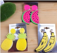 Wholesale 5pcs new design Acrylic funny banana Earring watermelon charm earrings fashion jewelley