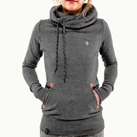 Wholesale Women s Long Sleeve Heaps Collar Hooded Hoodies Draw Cord Pure Color Pocket Sport Coat Sweater Shirts S XL