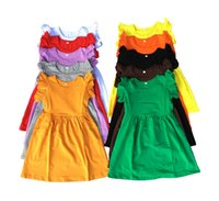 active bottle - 2016 boutique toddler Kids frock dress baby girl ruffle cotton puff sleeve blank dress