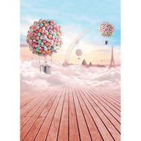 Wholesale 5x7ft Photo Studio Backgrounds Computer Printed Cartoon Hot Air Balloon Rainbow Children Photography Backdrops