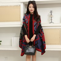 Wholesale High quality cashmere shawl scarf Europe and the United States fashion shawl thicker cloak coat dual use air conditioning shawl