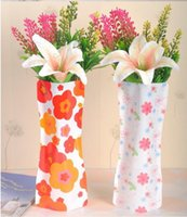 Wholesale Free Ship B Shape pvc foldable plastic vase cm cm fashion Home Decoration low carbon vase ctn