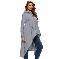 Pullover big hooded hoodies - Women Pullover Hoodies Fashion Loose Streetwear Euramerican Style Long Sleeve High Collar Hooded Sweater Solid Color Big Size