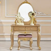 Wholesale factory price RoyalEuropean mirror table modern bedroom dresser French furniture white french dressing table pfy10056