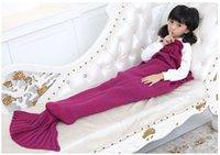 Wholesale New Arrival Kid knitted Mermaid Tail Blanket Handmade Crochet Mermaid Blanket Super Soft Sleeping Bag