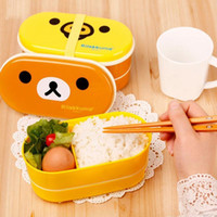 Wholesale Cartoon Rilakkuma Lunchbox Bento Lunch Box Food Container With Chopsticks Japanese Style Plastic Lunch box