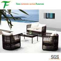 Wholesale Strong Steel Frame PE Rattan Sofa Set Aluminum Synthetic Wicker Outdoor Furniture Sofa Chair and Table