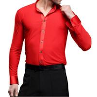 Wholesale Hot Sales Men Latin Dance Shirts Latin Dance Top Long Sleeve Tango Samba Salsa Standard Performance Costumes UA0187