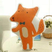 Venta al por mayor- 40 * 30CM naranja felpa de peluche de juguete de tela de impresión suave almohada cama de bebé cojín Fox paño muñeca de cumpleaños de los niños del regalo 906T1392609