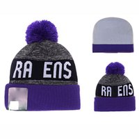 american football ravens - Baltimore Beanie Knitted Hats American Football Team Ravens Fitted Winter Pom Beanie Hats for Men with Stretch Wool