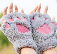 bear animal - Women girl children winter fluffy plush Gloves Mittens Halloween Christmas stage perform prop Cosplay cat bear Paw Claw Glove party favors