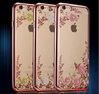 Leather apple ihpone - BY DHL ihpone Shinning Diamonds Flowers leaf Clear Transparent Soft Bags Cover For iPhone S SE S plus plastic bags