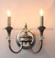 art deco wall mirror - K9 Crystal Wrought Iron Candles Wall Lamps Vintage Simple Art Deco Wall Lamp Bedroom Bedside Light Mirror Front Lamps MYY