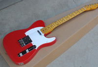 Wholesale Factory Red Body Electric Guitar with TL Pickups White Pickguard Vintage Maple Fretrboard Offer Customized