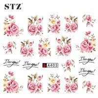 Wholesale STZ Sheets DIY Designer Water Transfer Tips Nail Art Pink Rose Flower Sticker Decals Women Beauty Wedding Nails A403