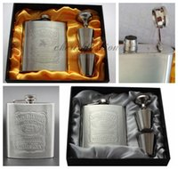 Wholesale Luxury Wine Set - 60sets lot Luxury Hip Flask 7oz set Portable Stainless Steel Flagon Wine Bottle Gift Box Pocket Flask Russian Flagon L77-1-B