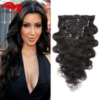 Hannah product 7 Pieces / Set Clip In Human Hair Extensions Body Wave Naturel Couleur 70G Remy Cheveux 14-26 pouces